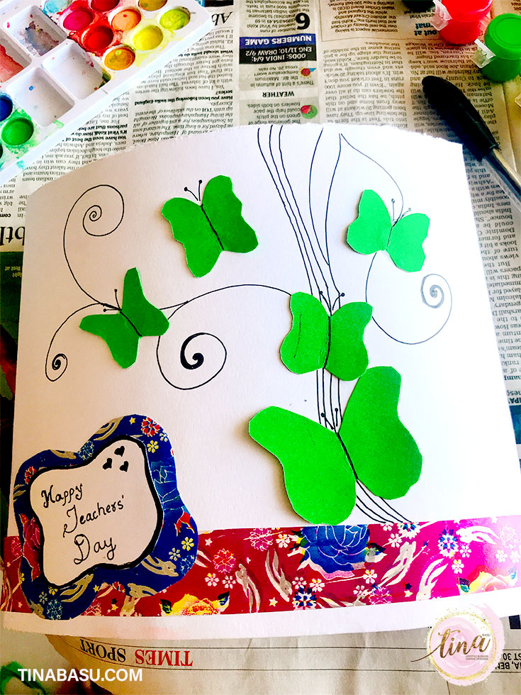 happy teachers day DIY greeting card craft with kids