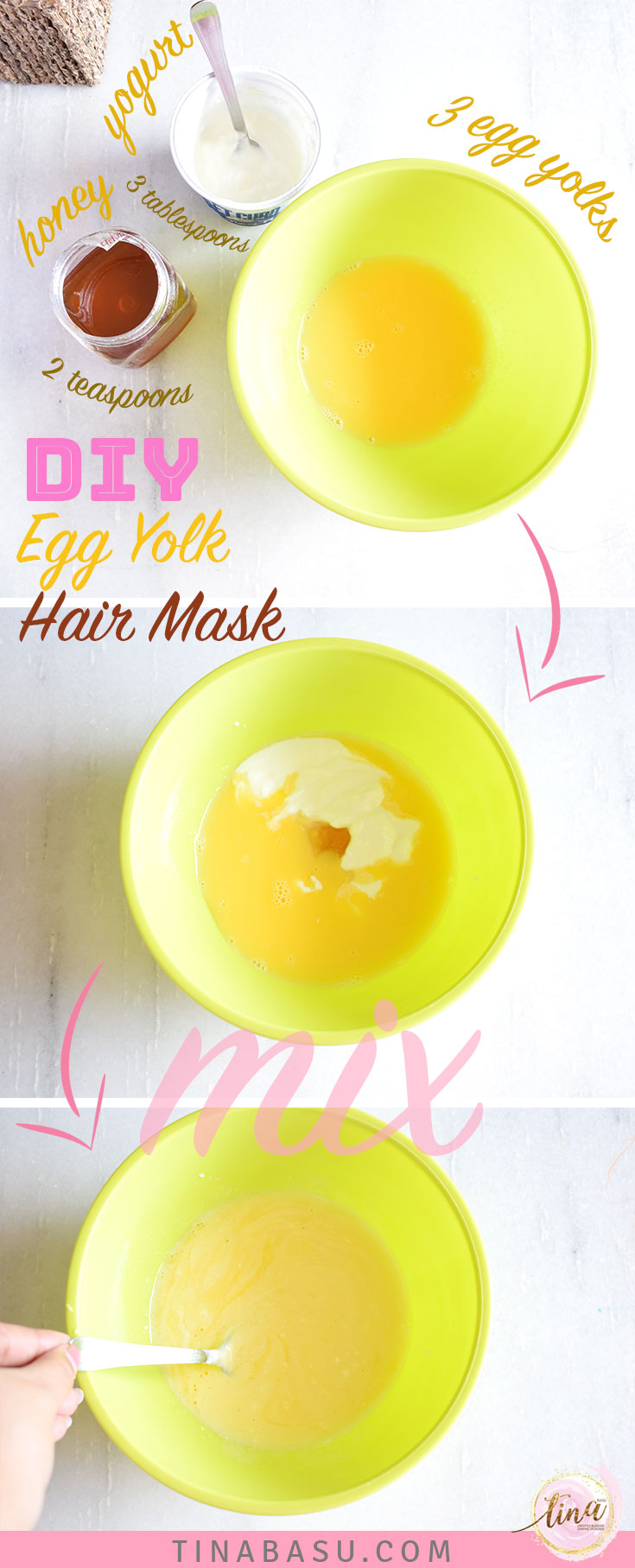 DIY Hair Conditioning hair mask with Egg yolk steps